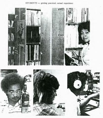 Students working at KMCR in 1976