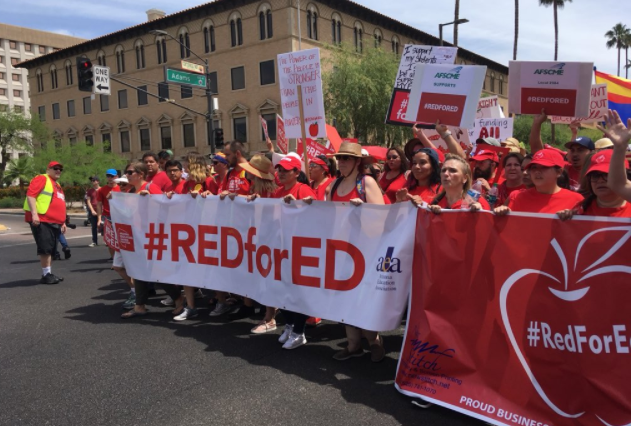 #RedForEd supporters march to the Arizona Capitol