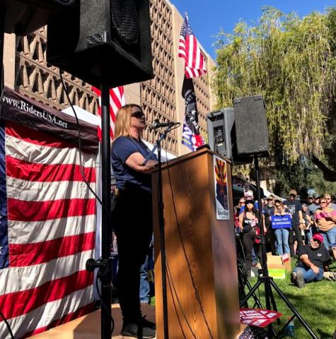 State Rep. Kelly Townsen (R-Mesa) addresses the crowd gathered at a Second Amendment rally at the State Capitol, Feb. 15, 2020.