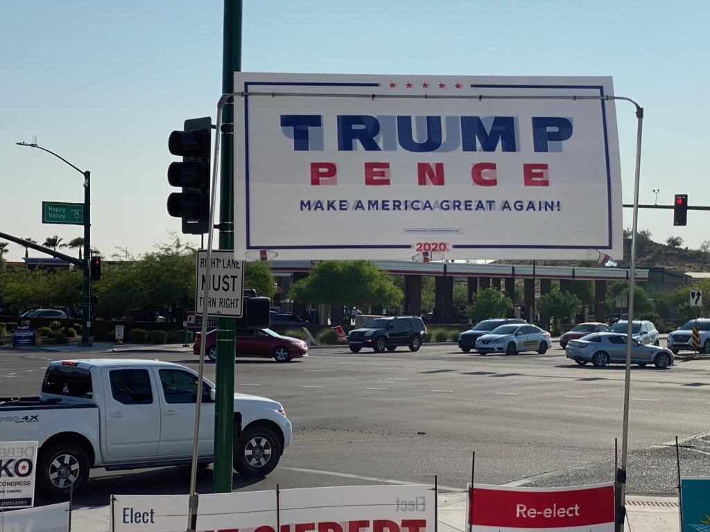A Trump campaign sign