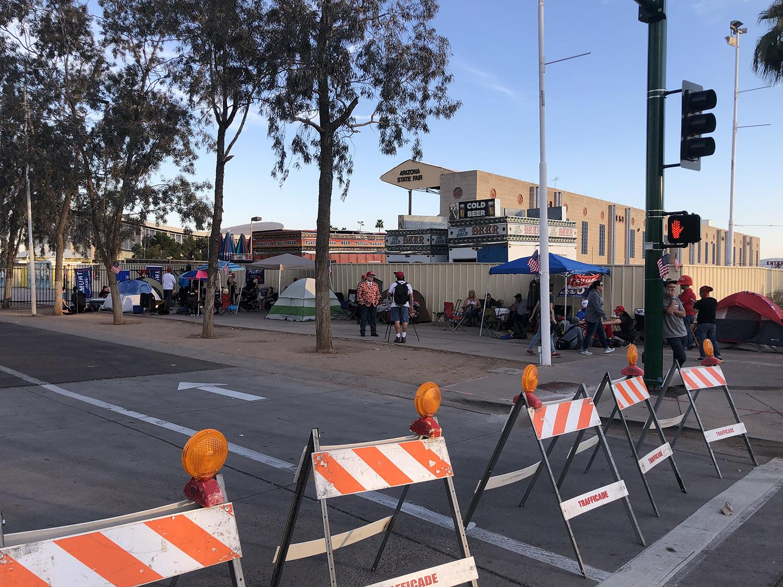 People line up outside Arizona Veterans Memorial Coliseum