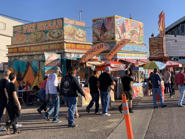 Trump reporters enter the Arizona State Fairgrounds