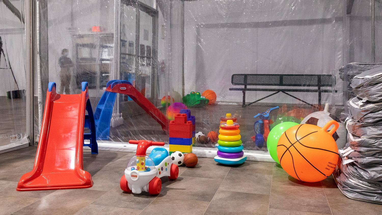 Border Patrol temporary holding facility toys