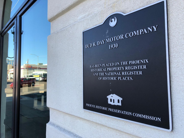 Placard on the front of the Van Buren building