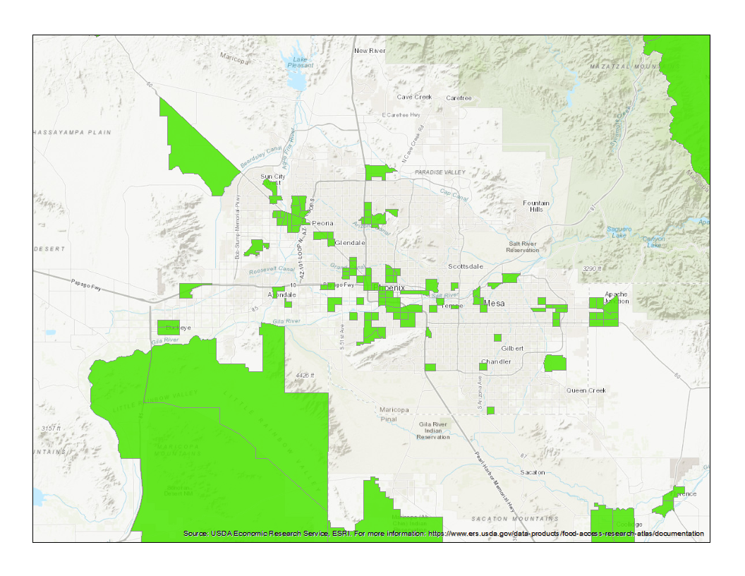 A map of designated food deserts in the Phoenix area