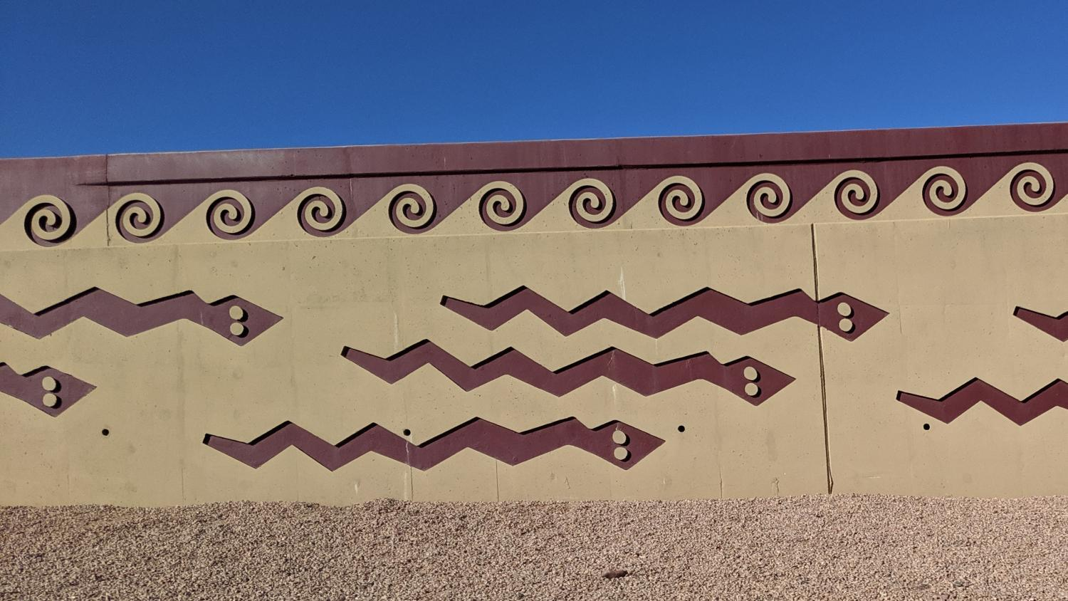 Art on State Route 143 wall.
