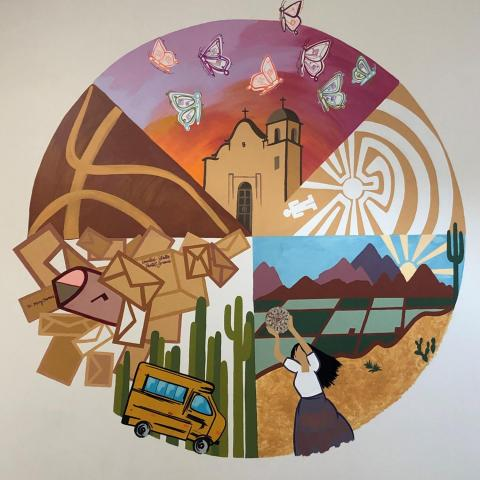 mural by Paige Poppe at Girl Scouts Arizona Cactus-Pine