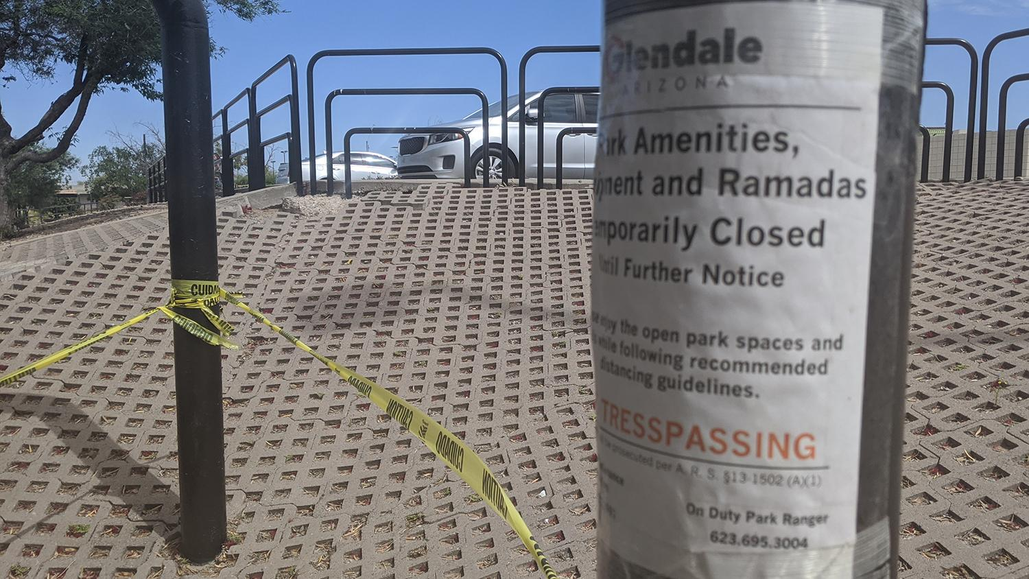 Closed ramadas at a Glendale park