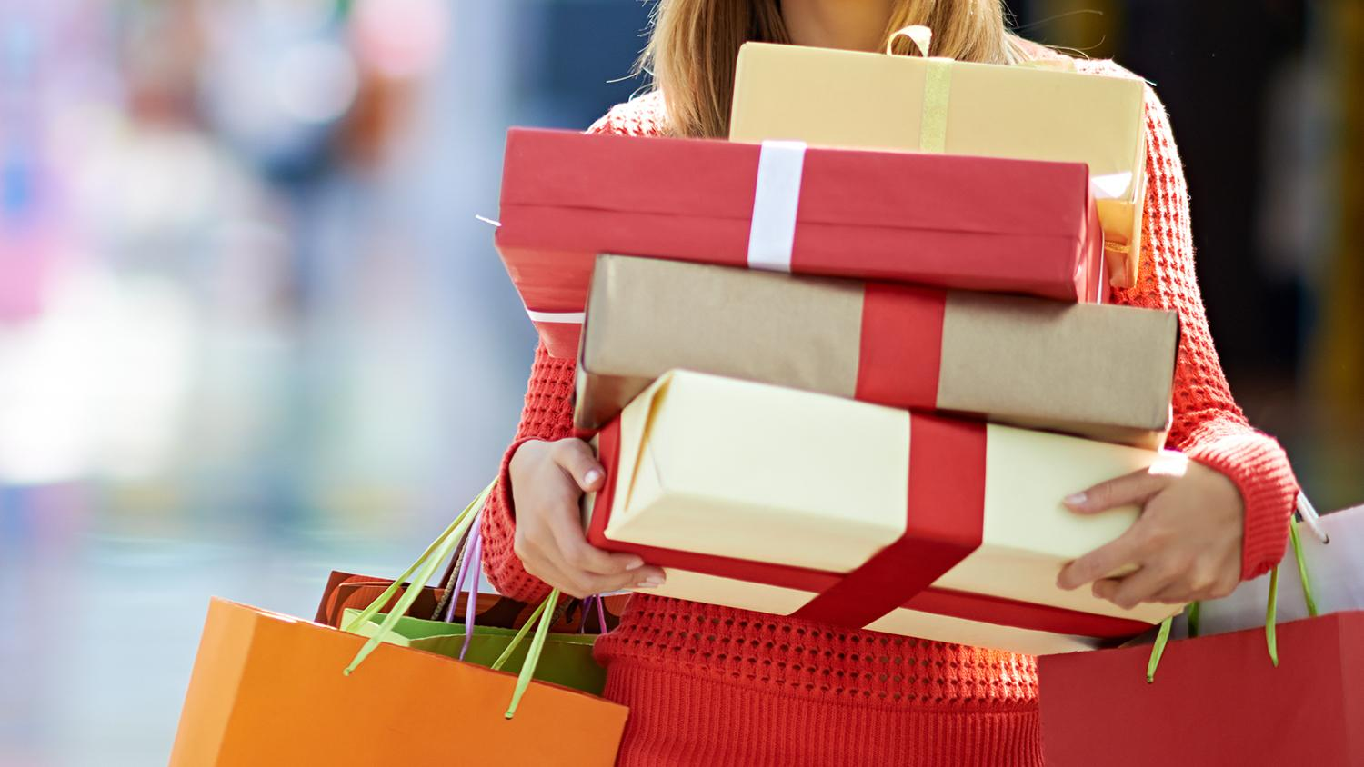 Holiday shopping boxes and bags