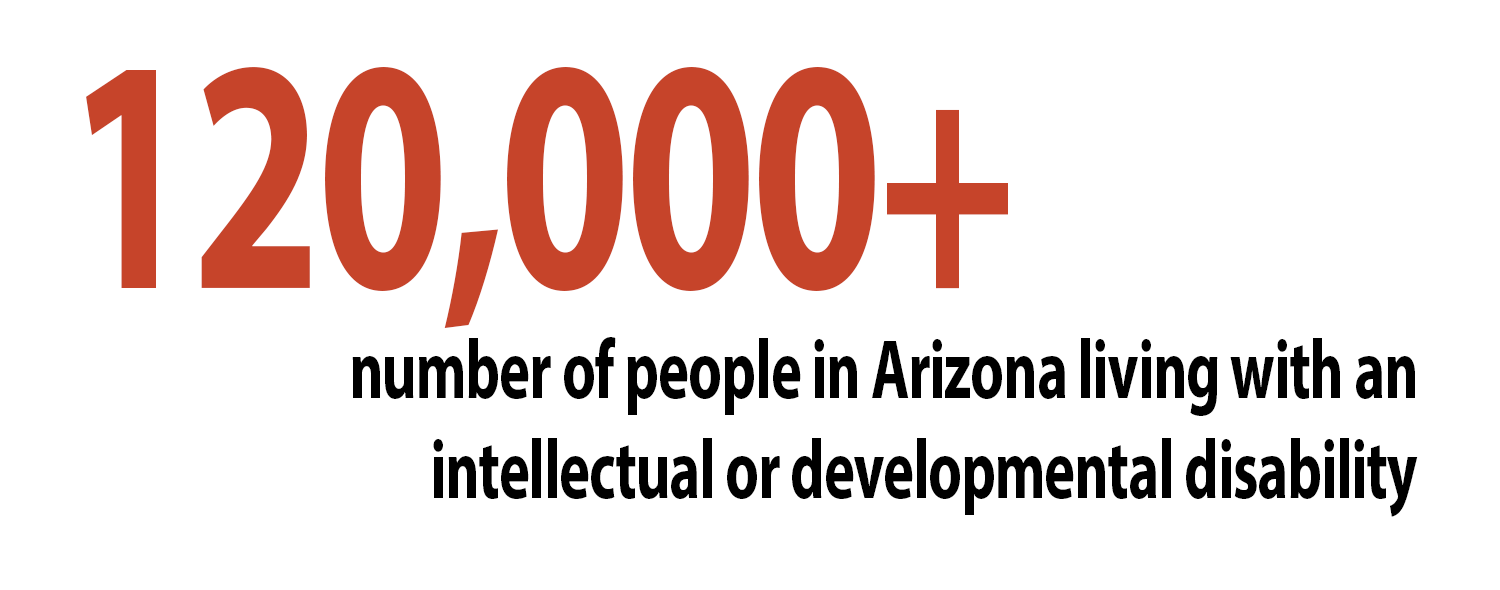120,000+ number of people in Arizona living with an intellectual or developmental disability