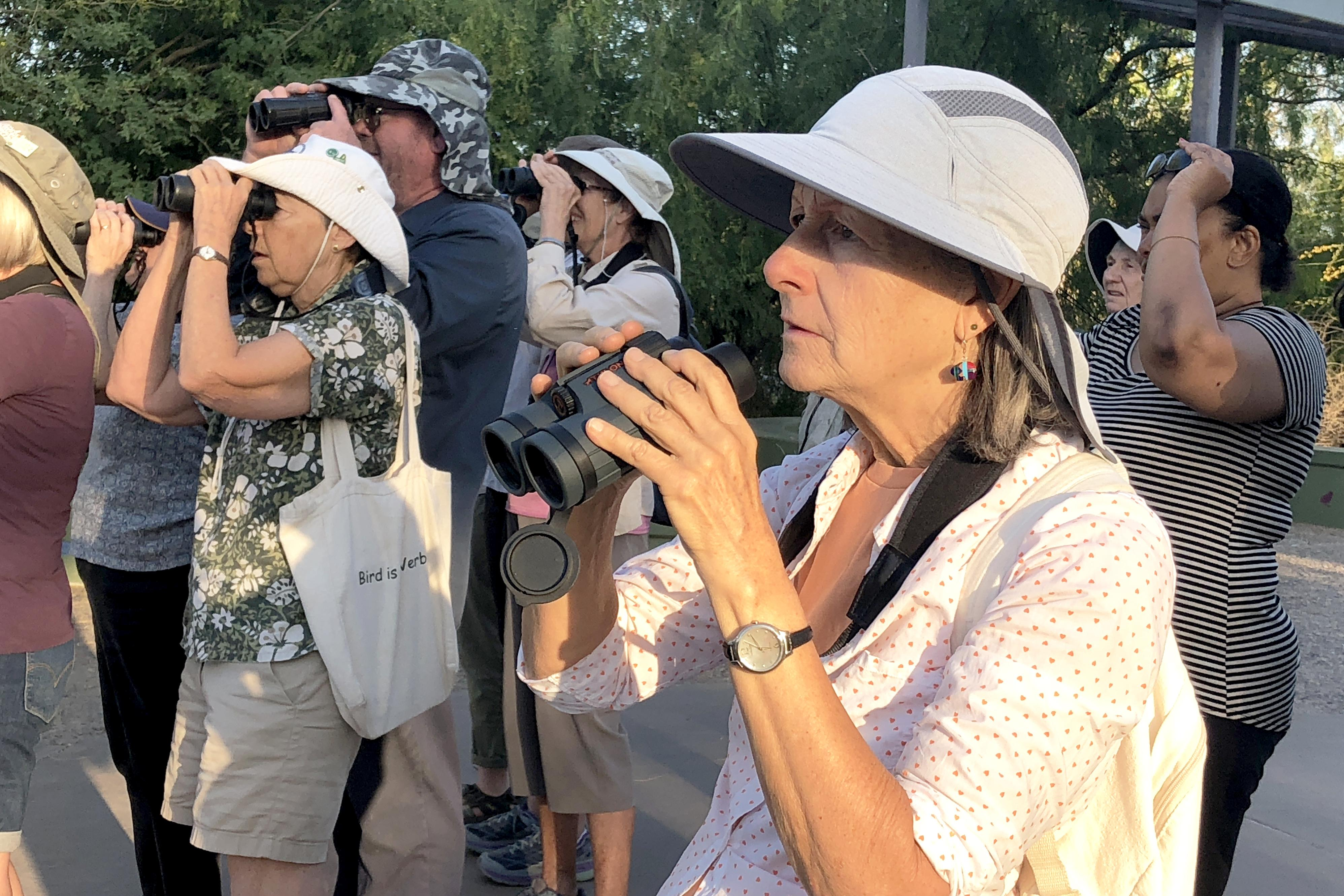 A group on a bird walk led by Kathe Anderson