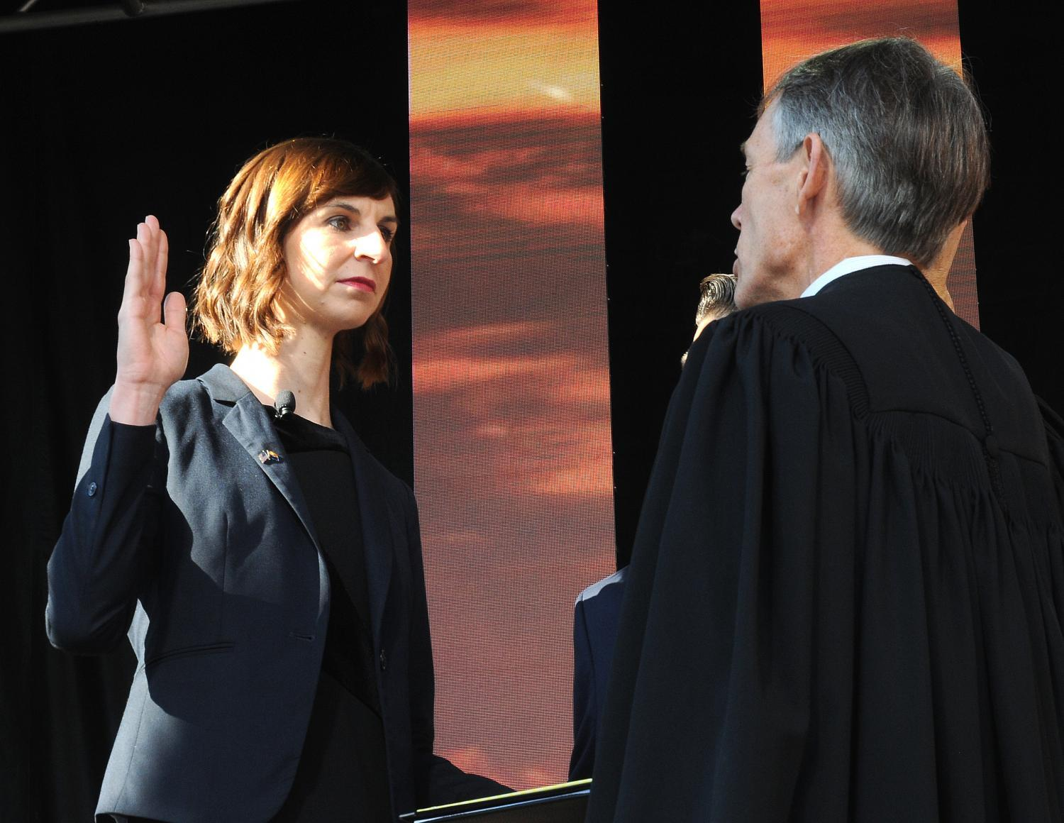 Kathy Hoffman takes the oath of office for superintendent of public instruction