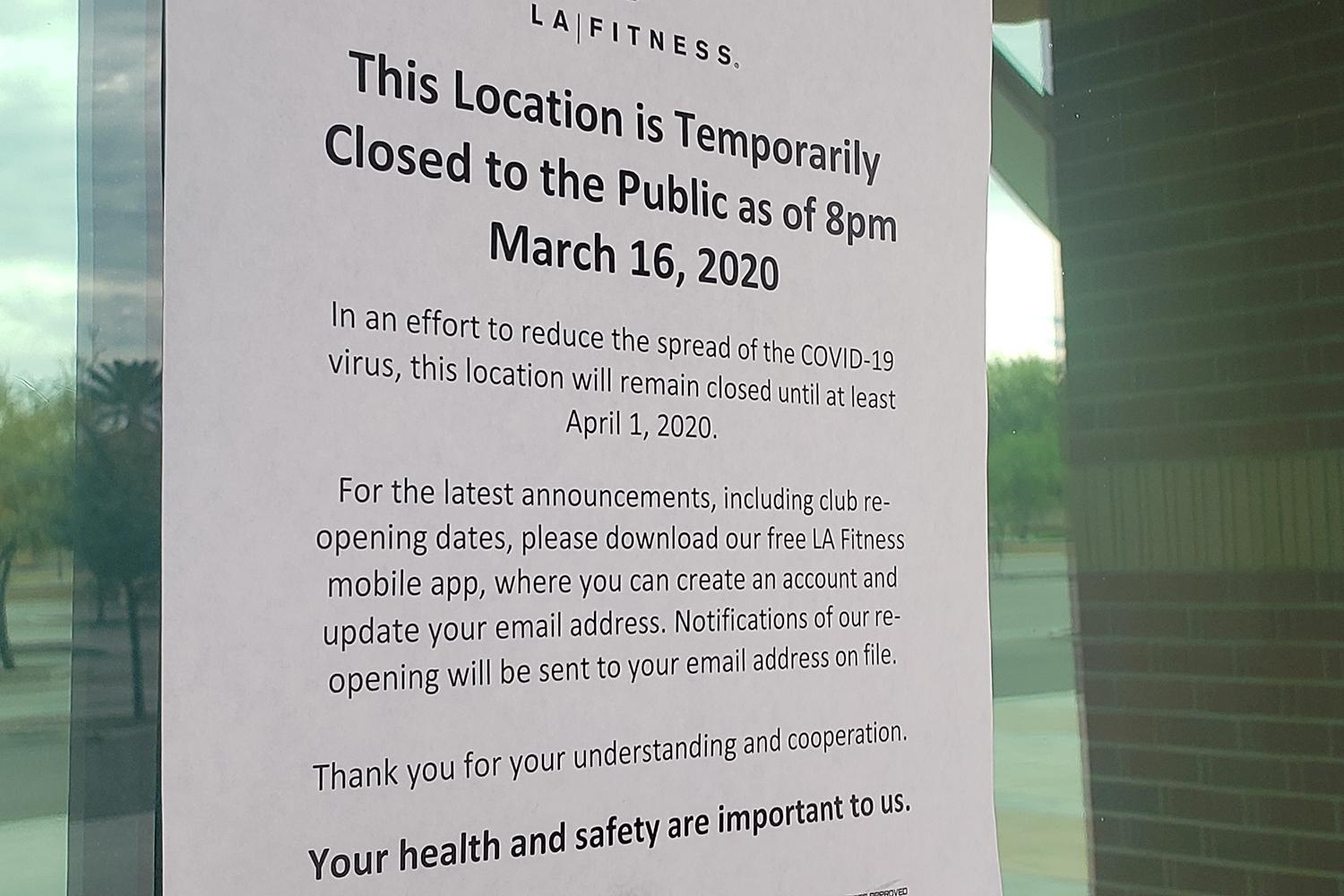 LA Fitness closed coronavirus