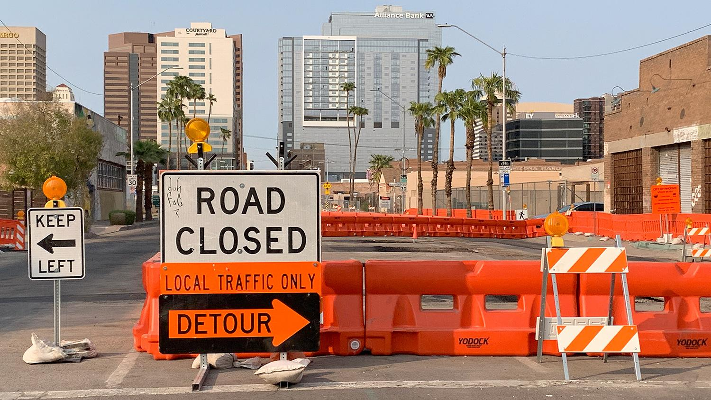 Light rail construction downtown Phoenix