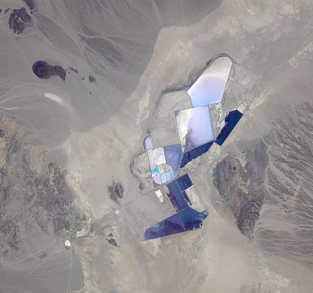 An aerial view of a lithium mining site