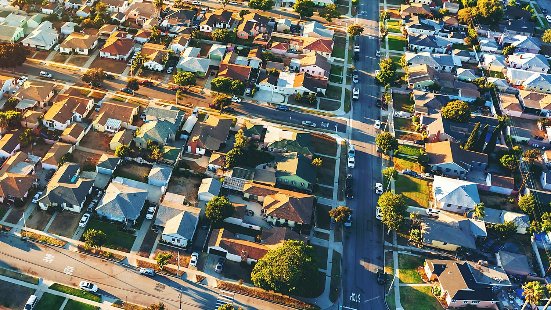 Hawthorne California neighborhood aerial photo