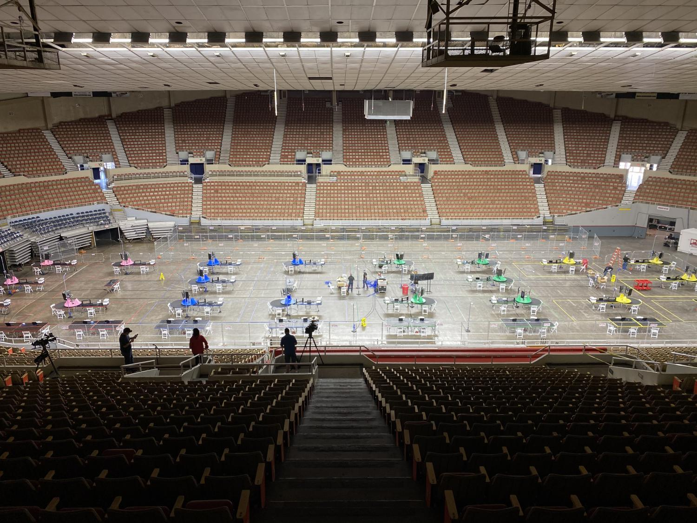 The audit site at Veterans Memorial Coliseum