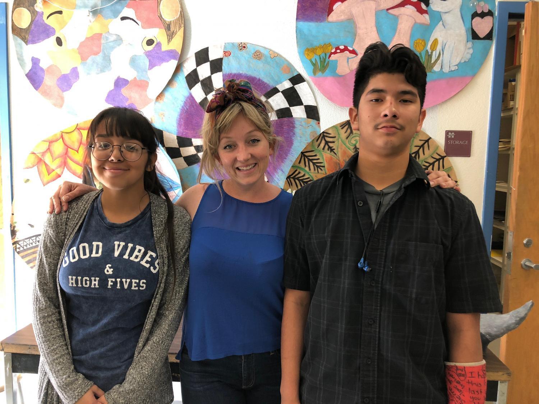 art teacher Megan Vanbuskirk  with students