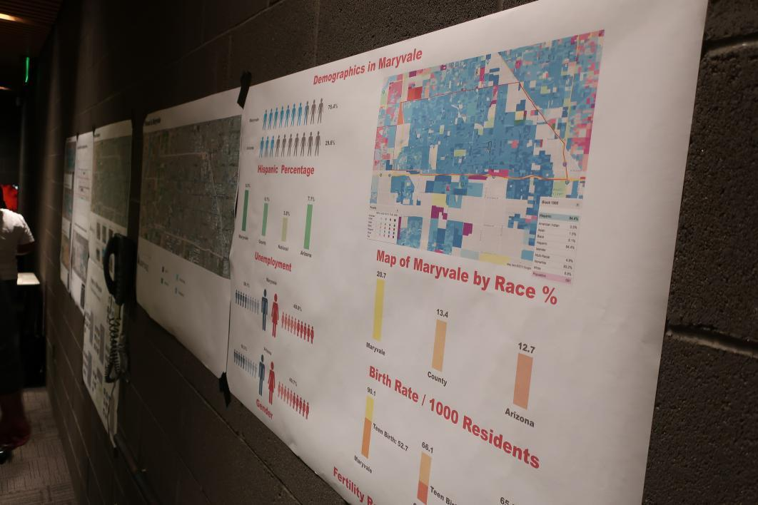Demographic information on display during the Maryvale One Square Mile Initiative community conversation