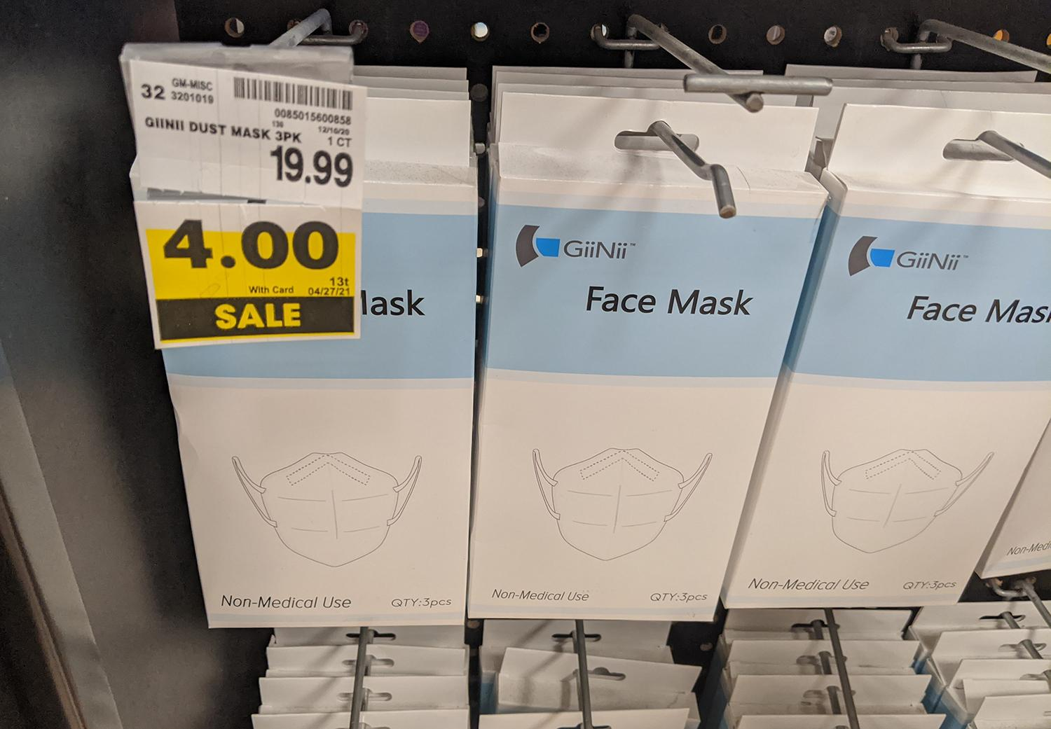 Masks on sale at a Phoenix grocery store