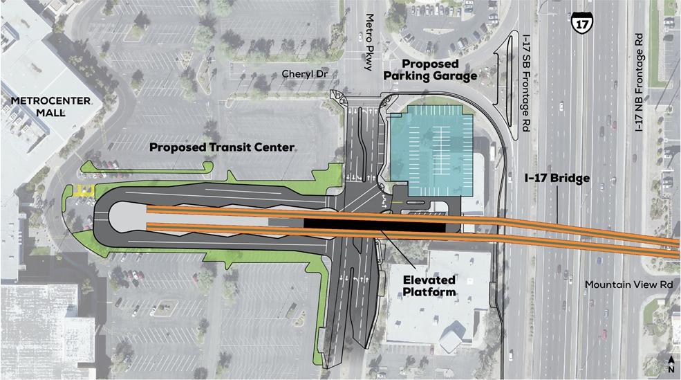 Phoenix Light Rail Metrocenter map