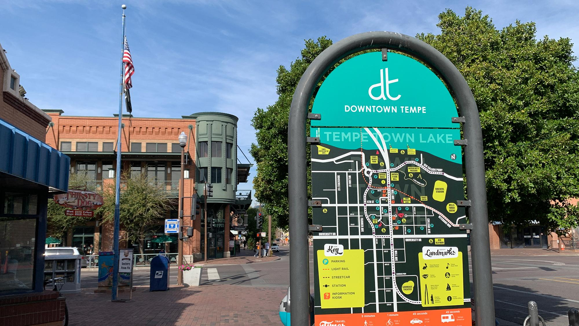 Mill Avenue downtown Tempe signpost map
