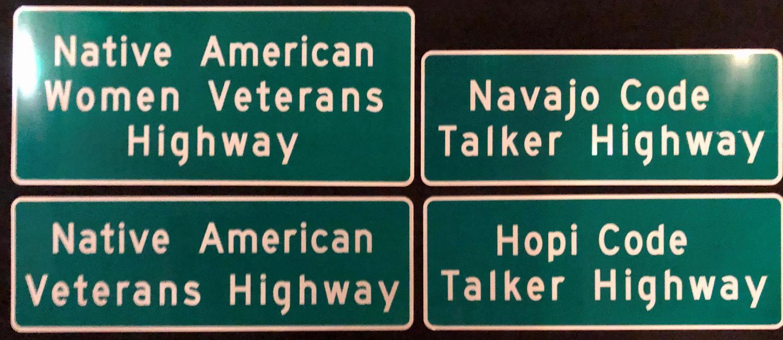 Native American veterans highway signs