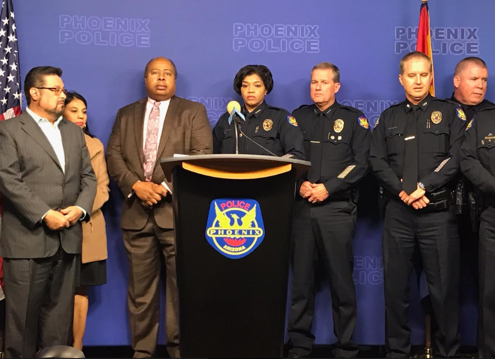 Phoenix police at  a press conference
