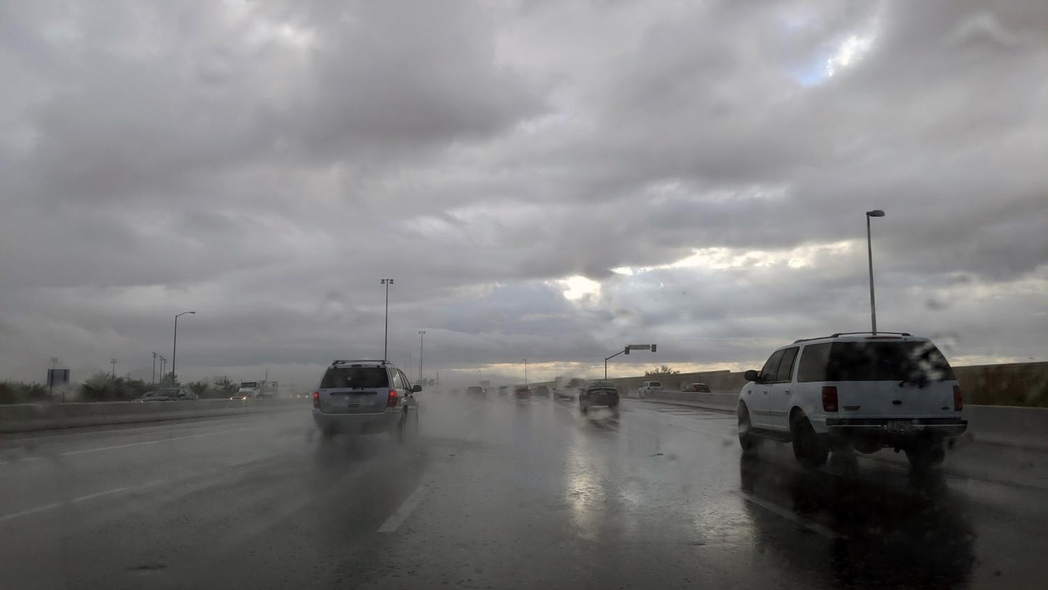 Rain on the Loop 202 in Phoenix on Sept. 23, 2019