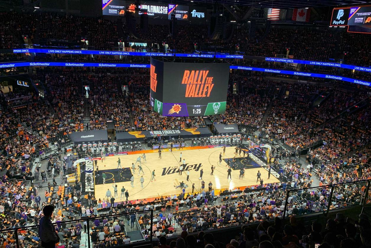 The Phoenix Suns warm up before the start of Game 1
