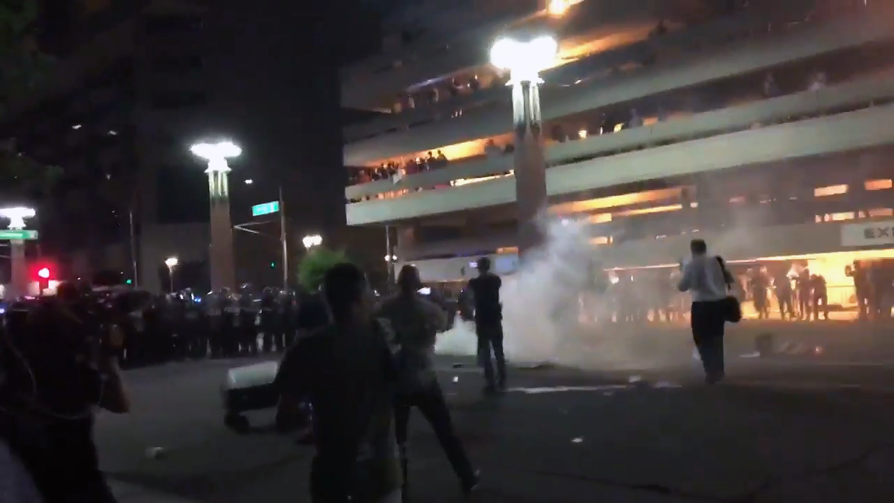 Police and protesters