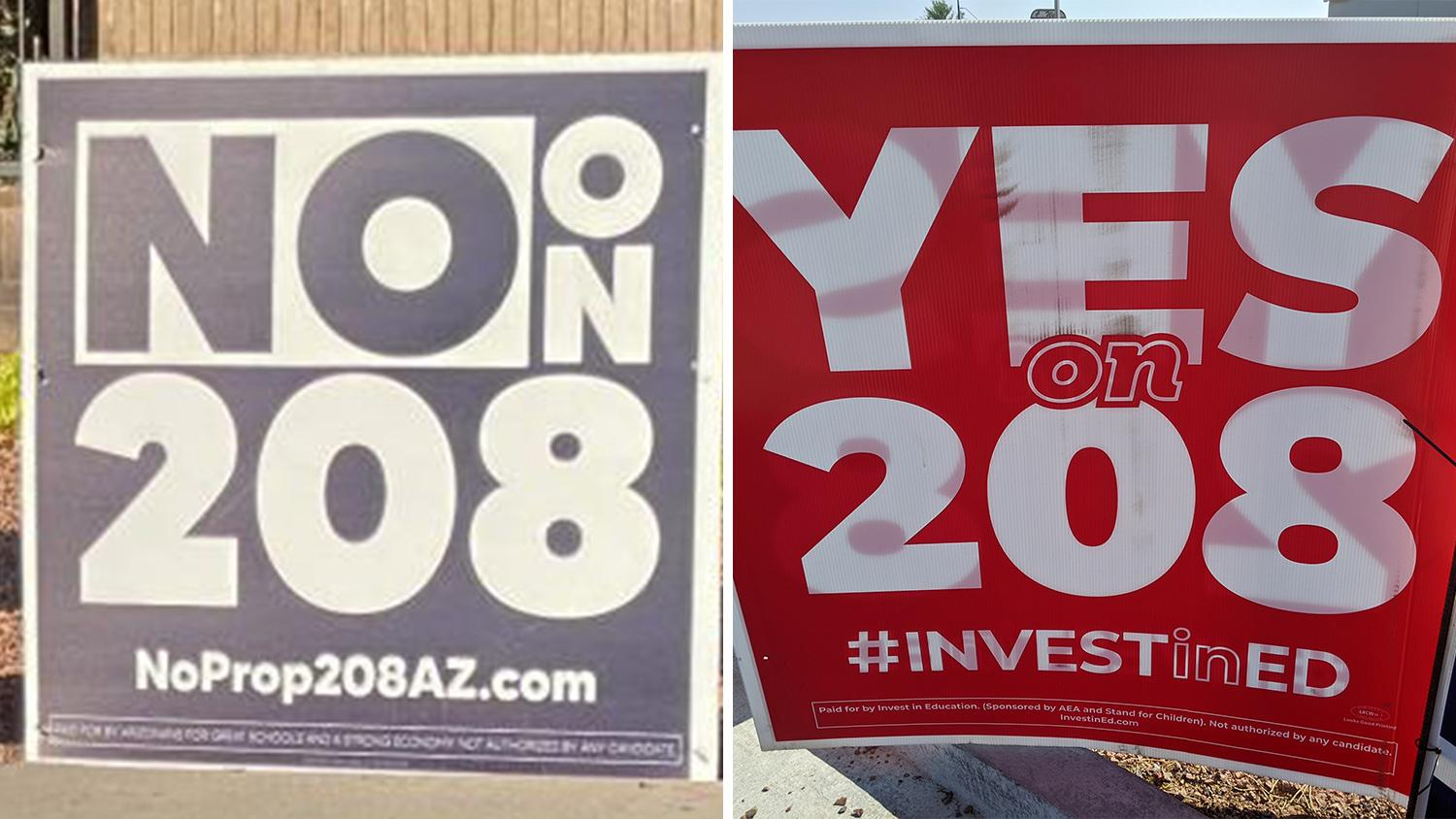 Signs against and for Arizona Proposition 208