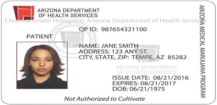 Arizona medical marijuana patient identification card