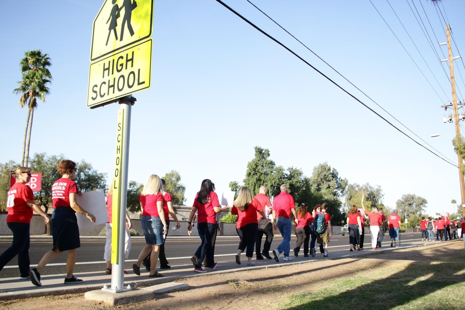 teachers stage a Walk-in at Mountain View High School