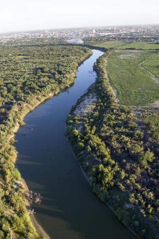 An aerial view of the Rio Grande River border area