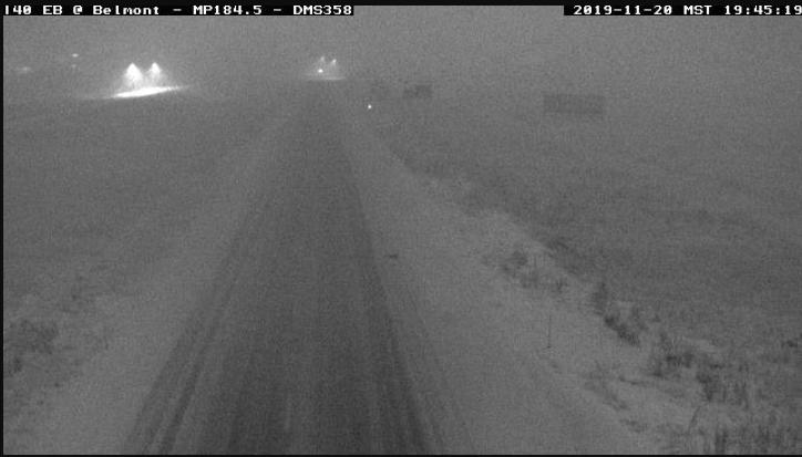 snow on the road north near Flagstaff