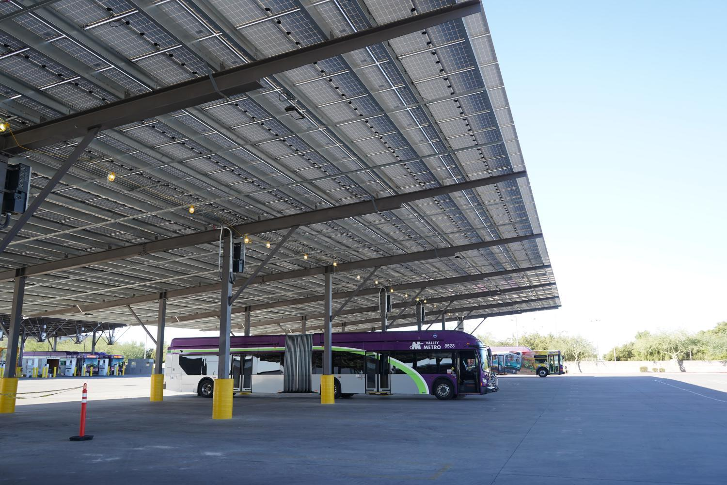wide shot of shade structure for buses