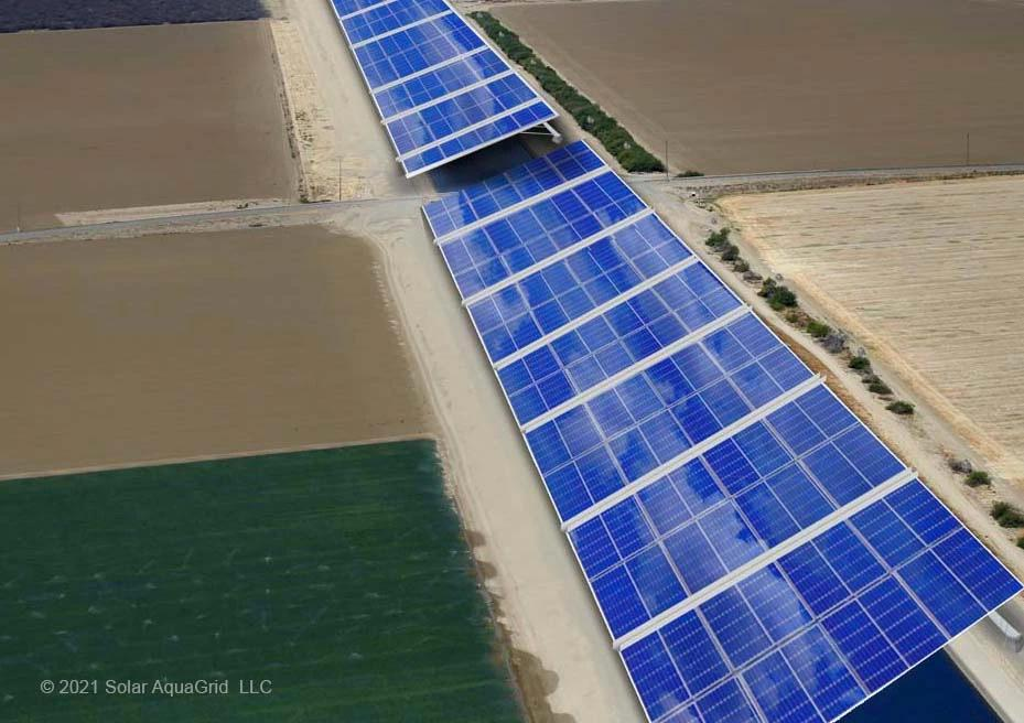 California solar panels covering canal