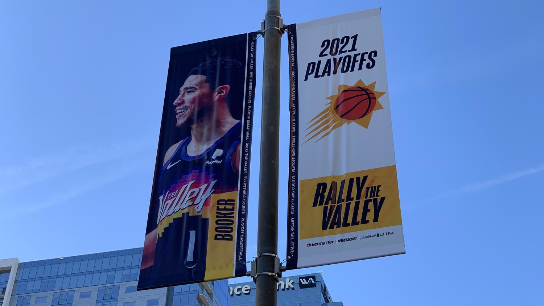 Suns Devin Booker NBA playoff banner
