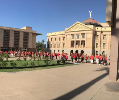 educators line up at the arizona capitol