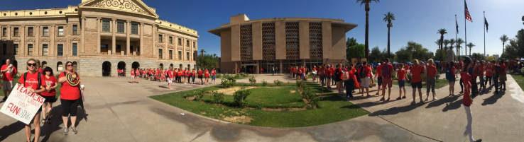 #RedForEd supporters in line to get into Arizona's House of Representatives