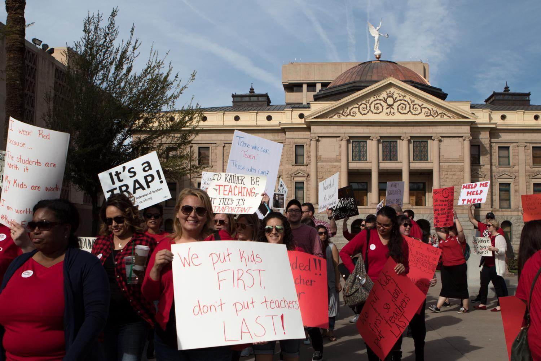 Arizona teachers march at the Capitol