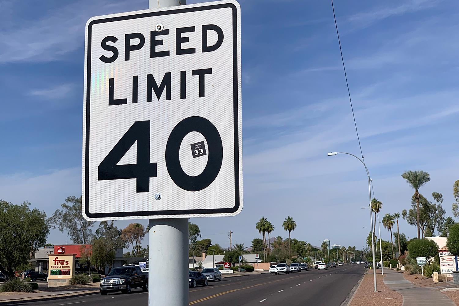 Tempe speed limit sign Mill Avenue
