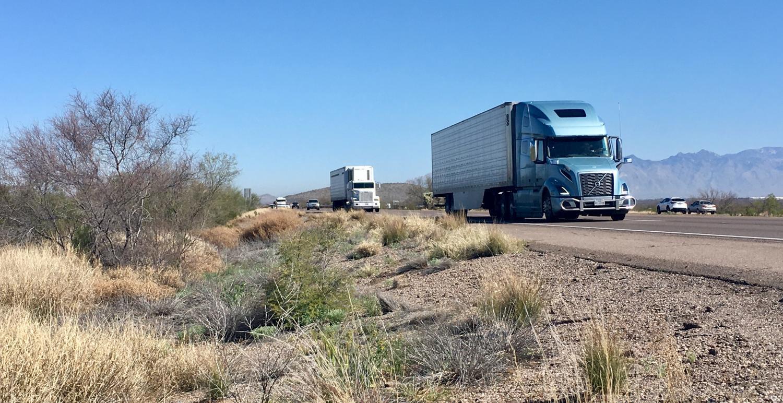 Trucks on Interstate 9 in Arizona