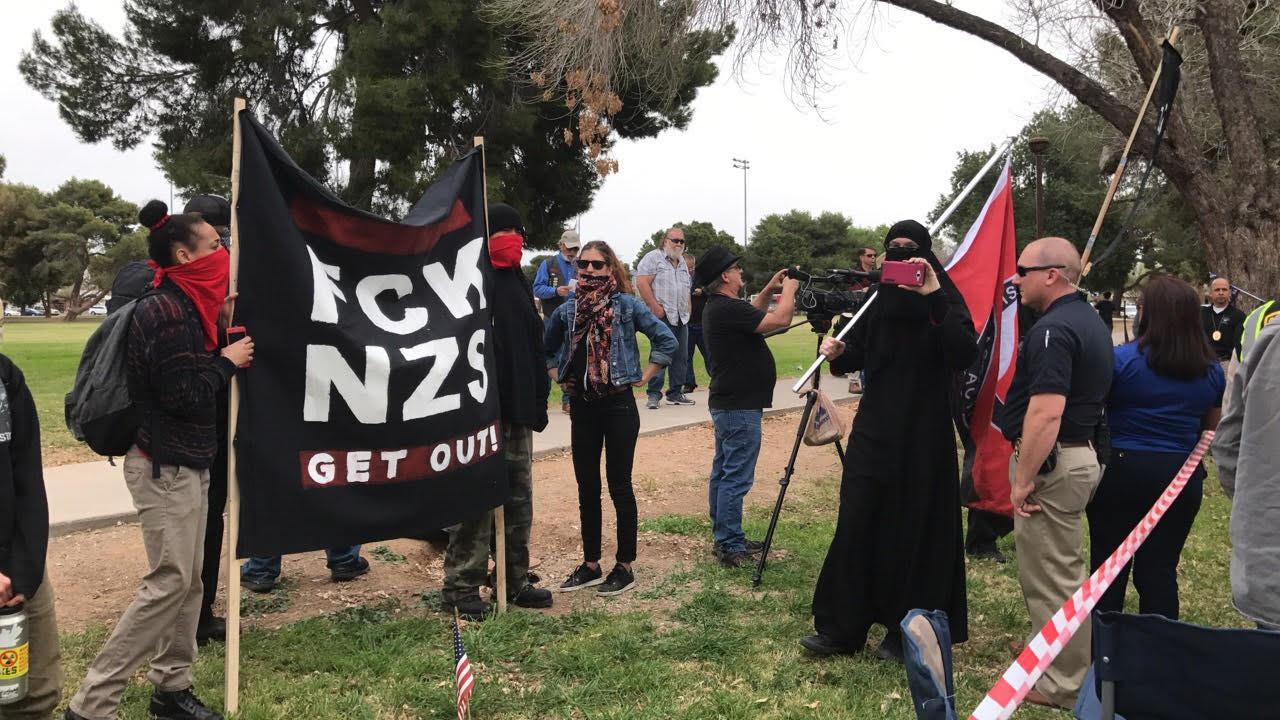 Counter protesters showed up to the Make America Great Again rally at Cactus Park in north Phoenix Saturday, March 10.