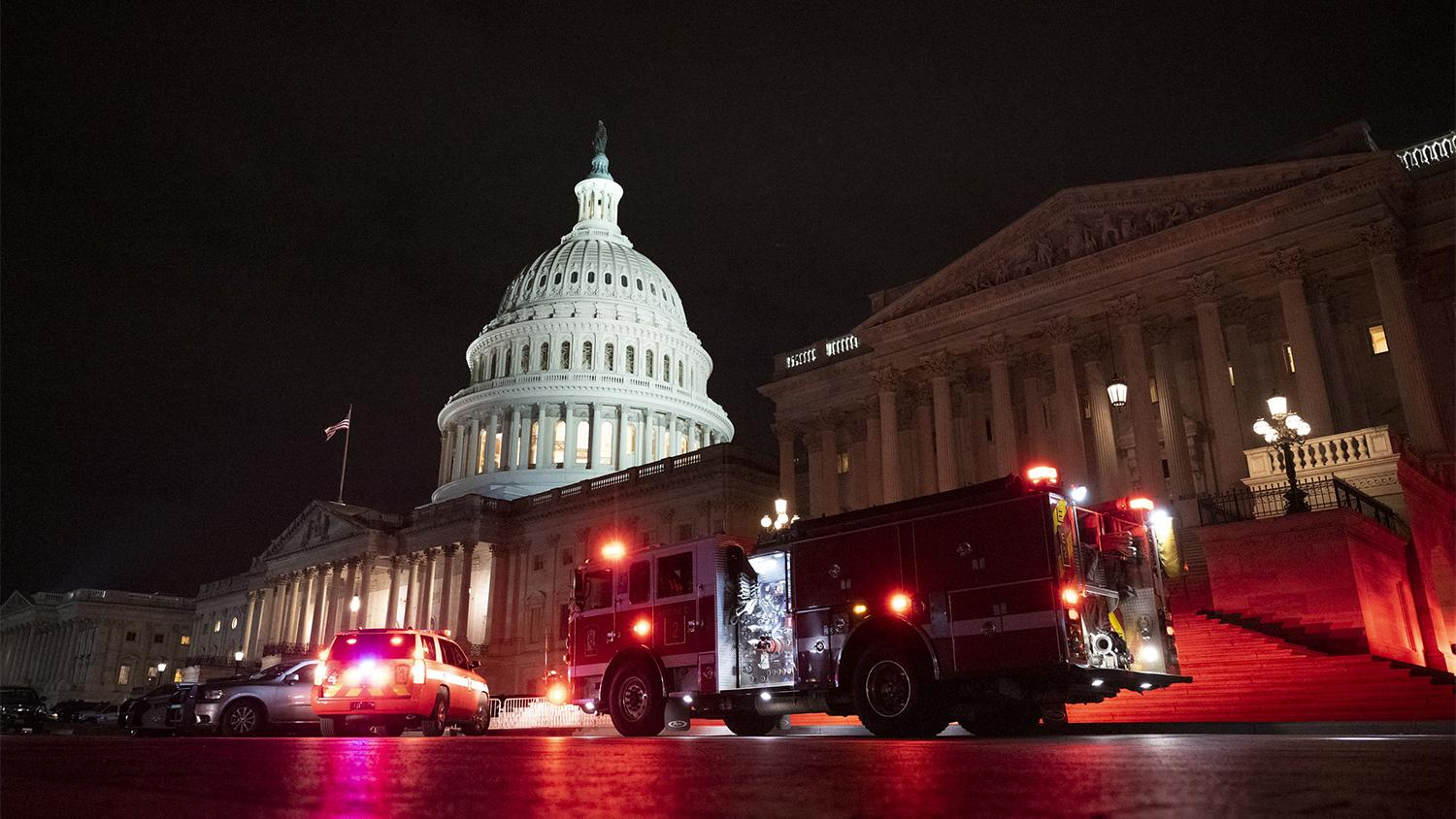 Emergency personnel outside the U.S. Capitol building