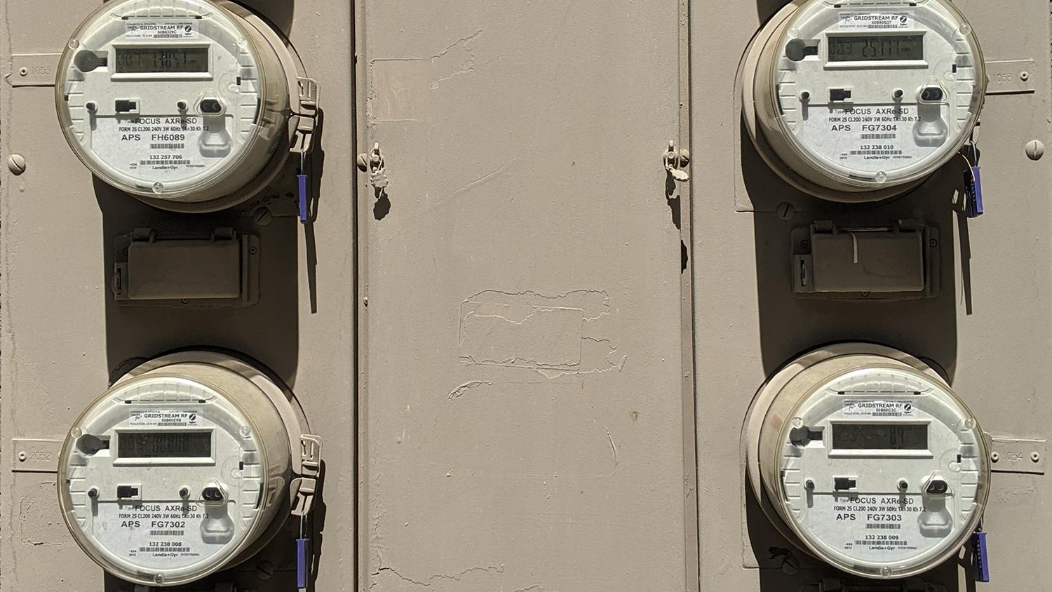utility meters at an apartment complex