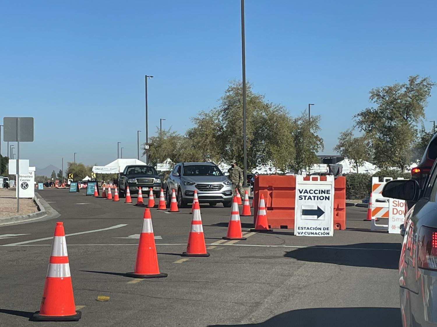 The vaccine site at Chandler-Gilbert Community College