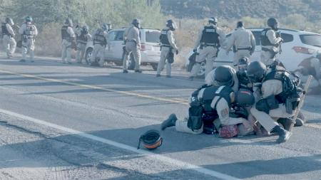 O'odham-led blockade at a Border Patrol checkpoint