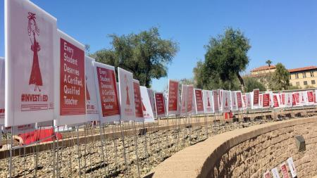long line of signs